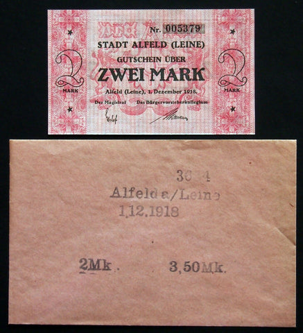 ALFELD 1918 2 Mark Grossnotgeld in RARE Robert Ball envelope! Notgeld Germany