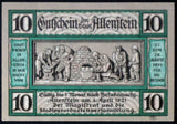 "ALLENSTEIN 1921 ""Baking Bread for Russian Soldiers"" single notes German Notgeld East Prussia today Olsztyn Poland"