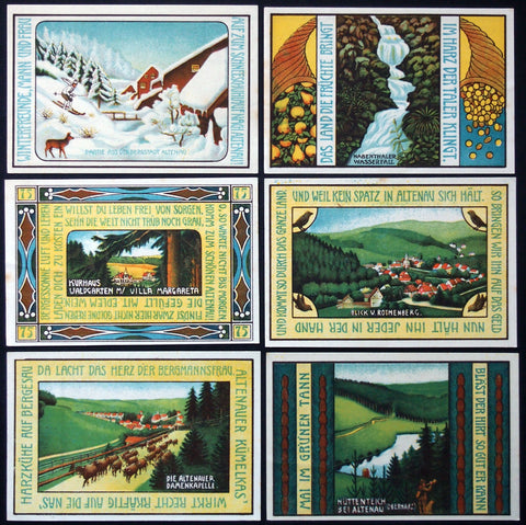 "ALTENAU 1921 ""Nature/Winter Scenes"" complete series Notgeld Germany Skiing"