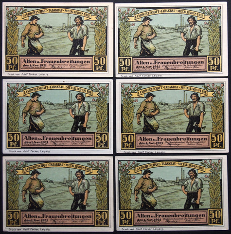 "ALTEN- and FRAUENBREITUNGEN 1921 ""Sower Motif, Tobacco, Metalworker"" complete German Notgeld"