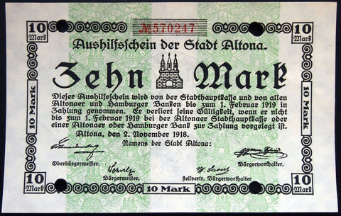 ALTONA 1918 10 Mark Grossnotgeld 2. Nov. date German Notgeld Hamburg