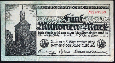 ALTONA 1923 5 Million Mark Inflation Notgeld Banknote Germany Hamburg