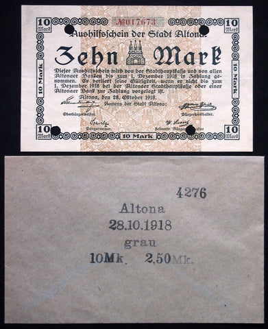 ALTONA 1918 10 Mark Grossnotgeld in RARE 1920s Robert Ball envelope! Notgeld