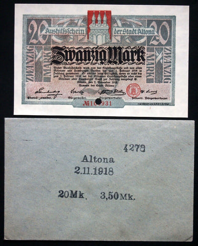 ALTONA 1918 20 Mark Grossnotgeld in RARE 1920s Robert Ball envelope! Notgeld