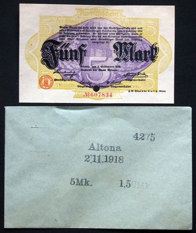 ALTONA 1918 5 Mark Grossnotgeld in RARE 1920s Robert Ball envelope! Notgeld