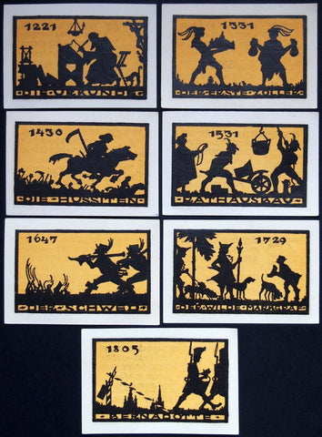 ANSBACH 1921 Thin paper historical silhouette series 6x75Pf complete German Notgeld