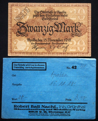 APOLDA 1918 20 Mark Grossnotgeld in RARE 1920s Robert Ball envelope! Notgeld