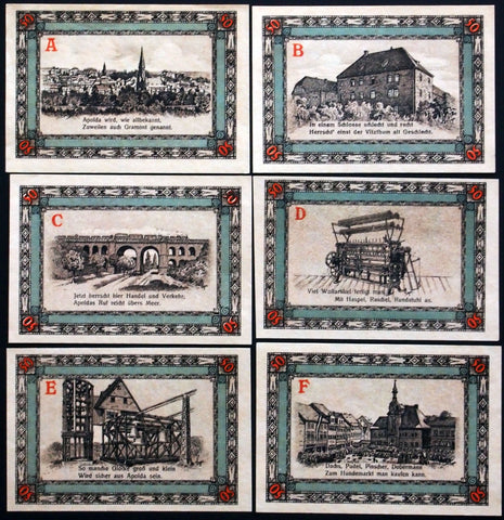 "APOLDA 1921 ""Dog Market/Weaving Loom/Castle"" complete series German Notgeld"