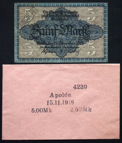 APOLDA 1918 5 Mark Grossnotgeld in RARE 1920s Robert Ball envelope! Notgeld
