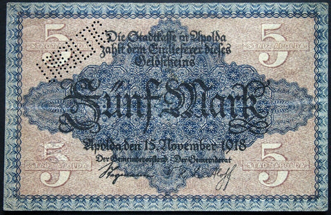 APOLDA 1918 5 Mark Grossnotgeld German Notgeld Banknote