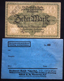APOLDA 1918 10 Mark Grossnotgeld in RARE 1920s Robert Ball envelope! Notgeld