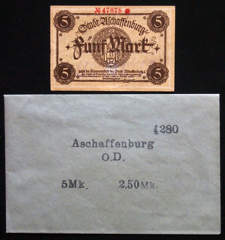 ASCHAFFENBURG 1918 5mk Grossnotgeld in RARE Robert Ball envelope! Notgeld