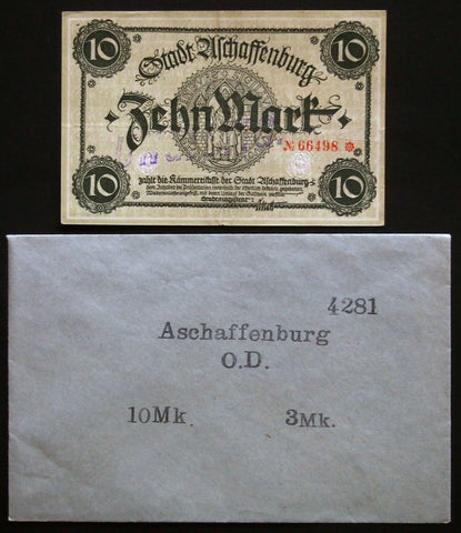ASCHAFFENBURG 1918 10mk Grossnotgeld in RARE Robert Ball envelope! Notgeld