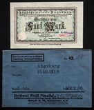 AUGSBURG 1918 5 Mark Grossnotgeld in RARE 1920s Robert Ball dealer envelope!