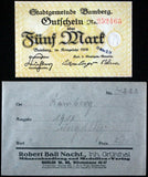 BAMBERG 1918 5 Mark Grossnotgeld in RARE Robert Ball Envelope! German Notgeld