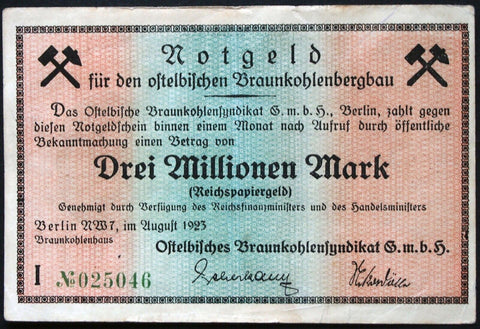 "BERLIN 1923 ""East Elbe Brown Coal Synd."" 3 Million Mark Inflation Notgeld"