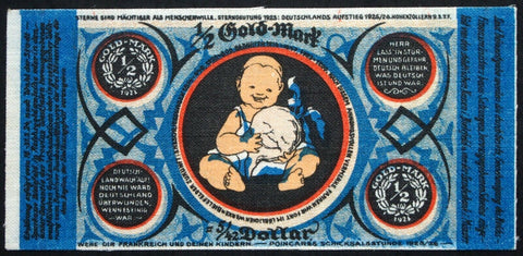 "BIELEFELD Linen Error Note! 1923 ""Child w/Rutabaga"" 1/2 Gold Mark = 5/42 Dollar"