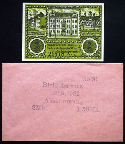 "BIELSCHOWITZ ""Treaty of Versailles Plebiscite Map"" 2mk + Robert Ball envelope!"