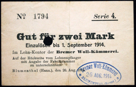"BLUMENTHAL 1914 ""Bremer Woll-Kämmerei"" 1 Mark Series 4 Early WWI Notgeld Germany Bremen"