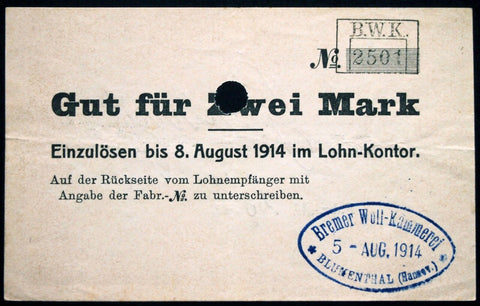 "BLUMENTHAL 1914 ""Bremer Woll-Kämmerei"" 2 Mark w/o Series (1st issue) Early WWI Notgeld Germany Bremen"