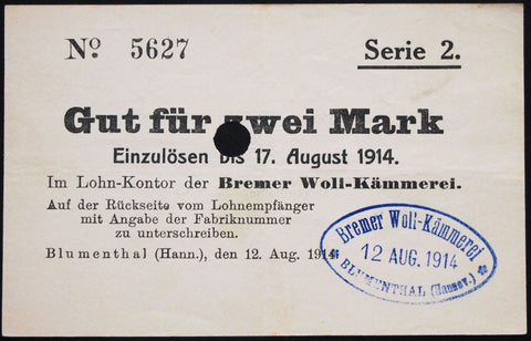 "BLUMENTHAL 1914 ""Bremer Woll-Kämmerei"" 2 Mark Series 2 w/rare stamp! Early WWI Notgeld Germany Bremen"