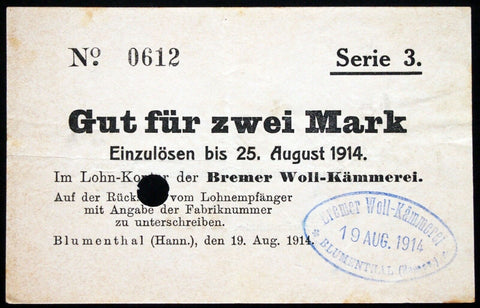 "BLUMENTHAL 1914 ""Bremer Woll-Kämmerei"" 2 Mark Series 3 Early WWI Notgeld Germany Bremen"