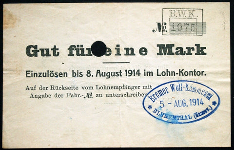 "BLUMENTHAL 1914 ""Bremer Woll-Kämmerei"" 1 Mark w/o Series (1st issue) Early WWI Notgeld Germany Bremen"