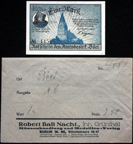 BÖEL 1920 1 Mark in RARE Robert Ball Envelope! German Notgeld Schleswig-Holstein