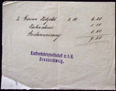 BRAUNSCHWEIG 1921 Original Receipt for 2 sets of Notgeld Extremely Rare!