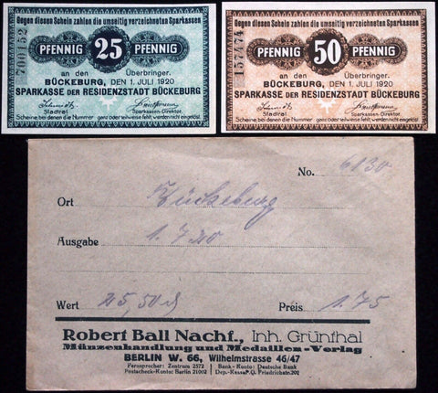 BÜCKEBURG 1920 complete set circulating Notgeld in RARE Robert Ball Envelope!