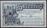 "BURG 1918 SPECIMEN ""We Hope For Better Times"" 25 Pf circulating Notgeld Germany"