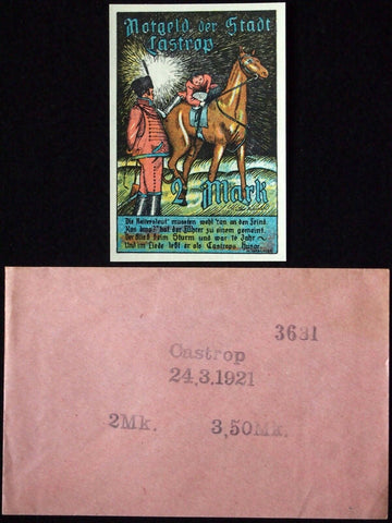 "CASTROP 1921 ""Jockey"" Pointillist Art! RARE Robert Ball Envelope German Notgeld"
