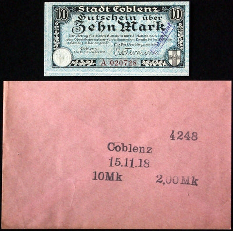 COBLENZ 1918 10 Mark Grossnotgeld in RARE Robert Ball Envelope! Notgeld Koblenz