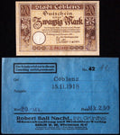 COBLENZ 1918 20 Mark Grossnotgeld in RARE Robert Ball Envelope! Notgeld Koblenz