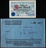 COBLENZ 1918 5 Mark Grossnotgeld in RARE Robert Ball Envelope! Notgeld Koblenz