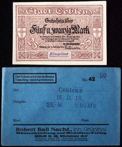 COBLENZ 1918 25 Mark Grossnotgeld in RARE Robert Ball Envelope! Notgeld Koblenz