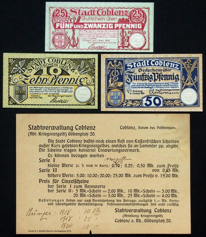 COBLENZ 1921 XX-RARE Original City Postcard Describing Notgeld! Koblenz Germany