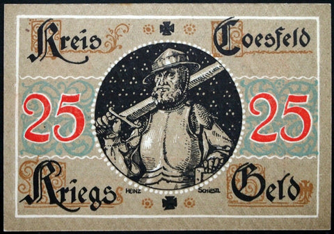 "COESFELD 1918 *SPECIMEN* w/o serial! ""Knight w/Sword"" Original issue Notgeld"