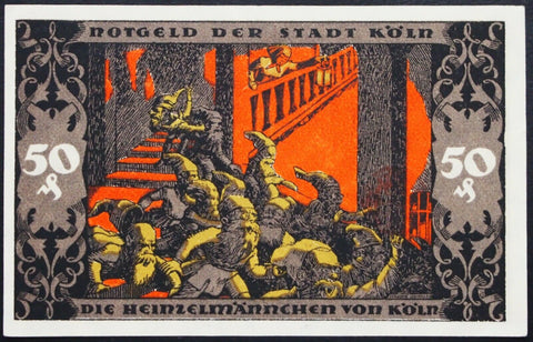 "KÖLN / COLOGNE 1922 XX-RARE D1 Front/E1 Reverse! ""Heinzelmännchen on the Stairs"" Gnomes"
