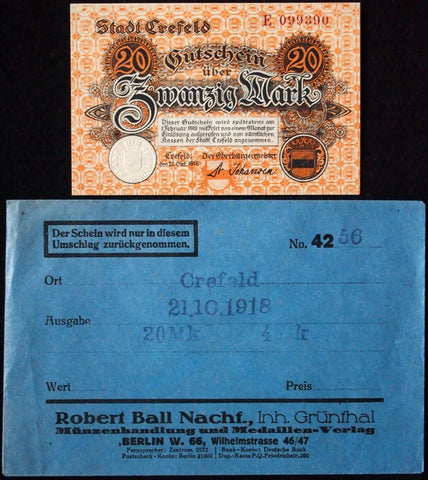 CREFELD 1918 20 Mark Grossnotgeld in RARE Robert Ball Envelope! Notgeld Krefeld