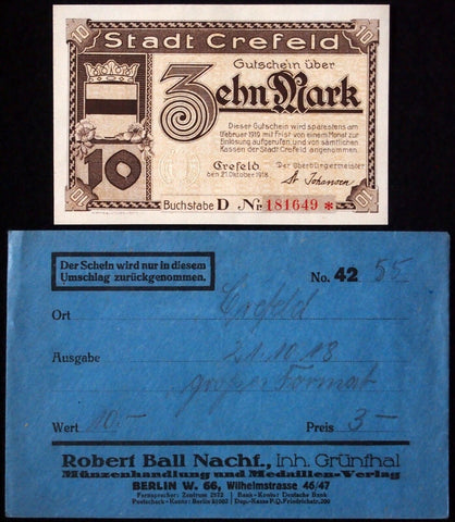 CREFELD 1918 10 Mark Grossnotgeld in RARE Robert Ball Envelope! Notgeld Krefeld