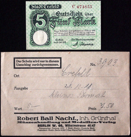 CREFELD 1918 5 Mark Grossnotgeld in RARE Robert Ball Envelope! Notgeld Krefeld