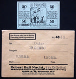"DALER 1920 ""Hoisting Danish Flag"" Plebiscite 50Pf + Robert Ball envelope Notgeld"