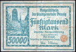 DANZIG 1923 50,000 Mark Inflation Notgeld German Banknote Gdansk P-19