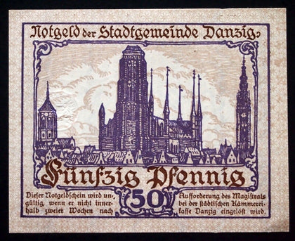 DANZIG 1919 50 Pf rare German Notgeld today Gdansk Poland