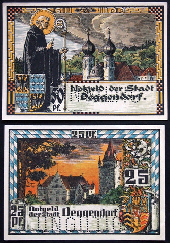 DEGGENDORF 1920 *XX-RARE* Complete SPECIMEN set Anti-Semitic Bishop circulating German Notgeld