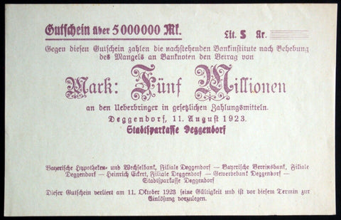 DEGGENDORF 1923 XX-RARE SPECIMEN 5 Million Mark Inflation Notgeld