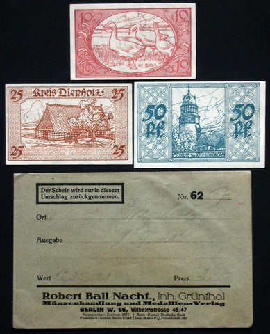 "DIEPHOLZ 1920 ""Jänecke"" printer complete in RARE Robert Ball envelope! Notgeld"
