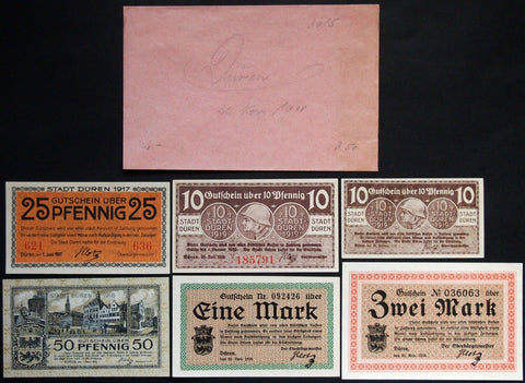 DÜREN 1917-1919 6 diff. circulating/Grossnotgeld lot original Robert Ball envelope