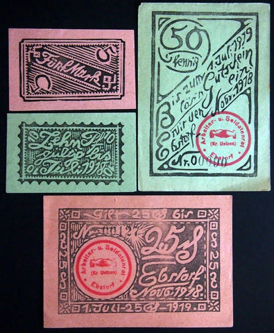 "EBSTORF 1918 ""Workers' and Soldiers' Council"" complete set German Notgeld"